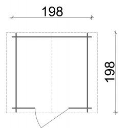 Casetta Regis in legno di abete porta singola 200x200 - sp 19 - non trattata